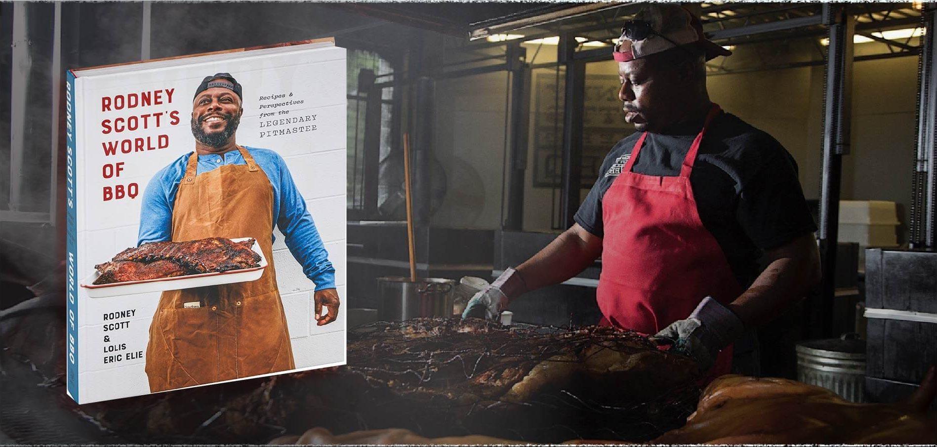 Rodney Scott's with his book Rodney Scott's World of BBQ